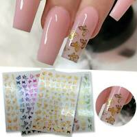 3D Colorful Butterflies Nail Art Stickers Nail Art Water Decals Transfers DIY AU