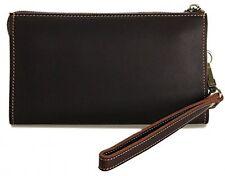 Men's Vintage Genuine Leather Long Zipper Wallet W Wrist Strap Brown Card Id