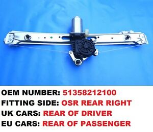 BMW E46 1998-2005 REAR WINDOW REGULATOR ELECTRIC RIGHT WINDER LIFTER WITH MOTOR
