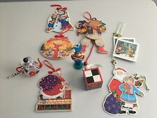 Vintage Lot of Mary Engelbreit Christmas Ornaments Glass Teapot Pull Toy Wooden