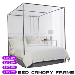 4 Corner Stainless Steel Bed Canopy Net Frame Mosquito Twin Full Queen King