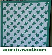 """Antique Maple Leaf Quilt Nile Green Excellent Hand Quilted 70"""" by 68"""""""