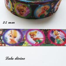 Ruban gros grain La fée clochette dans médaillon multicolore de 25 mm vendu au m