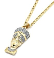 "Mens Gold Plated Silver Stardust L Female Pharaoh Pendant 5mm 24"" Cuban Chain"