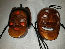 Pair of vintage Korean carved and painted wood masks Couple old man old woman
