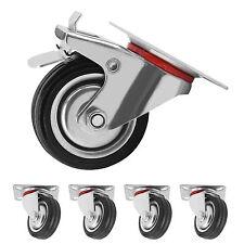 4x75mm Heavy Duty Rubber Swivel Castor Wheels Brake Trolley Furniture Caster UK