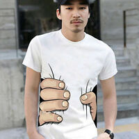 Men White 3D Funny Catch You Big Hand Printed Cotton Soft Short Sleeve T-shirt 1
