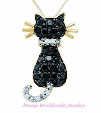 10K YELLOW GOLD TWILIGHT BLACK & WHITE DIAMOND FRISKY CAT NECKLACE PENDANT .36CT