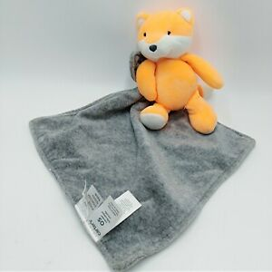 Carters Orange Plush Fox Rattle Gray Baby Security Blanket Lovey Toy