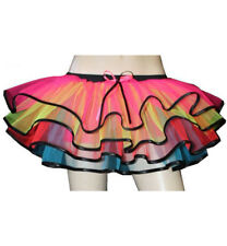 Neon UV Rainbow Multi Frill Trim Tutus Skirt Rave, Hen Night/Night Out 6-14