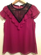 M&S Limited Collection Magenta Sheer Top & bajo Chaleco, Cuello de Encaje Detalle, < BC208