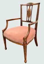 19TH C. ADAMS STYLE DIMINUTIVE ANTIQUE ARM CHAIR W/ MUSICAL MOTIFS & VELVET SEAT