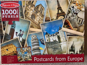 NEW Postcards from Europe 1000pc Jigsaw Puzzle Milan Notre Dame Cathedral Eiffel