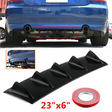 "23""x6"" Universal Car Lower Rear Bumper Lip Diffuser 5Fin Spoiler Gloss Black ABS"