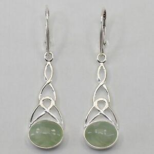 Genuine Natural Green PREHNITE Celtic Earrings 925 STERLING SILVER Leverback #21