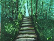 """""""The Hike"""" 11x14 Impressionism Original Acrylic On Canvas Board Painting By  DML"""