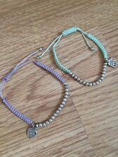 Handmaid With Love Purple Turquoise Green Silver Bead Heart Friendship Bracelets