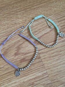 Handmaid With Love Purple Turquoise Green Silver Bead Heart Friendship Bracelets