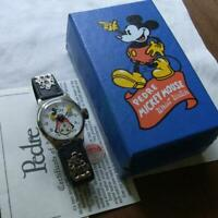 """PEDRE 1933 model reprint Mickey Mouse """"blue box / leather belt"""" watch"""