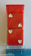 "DICE - 25mm *OP RED* w/WHITE HEARTS FOR PIPS * ONE BIG PAIR* ""GOTTA HAVE HEART!"""