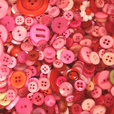 50g Mixed Pinks Coloured Buttons - Sewing, Craft, Jewellery Making, Papercraft
