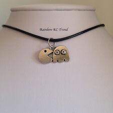 Genuine Leather PacMan Pendant Black Leather Choker Necklace