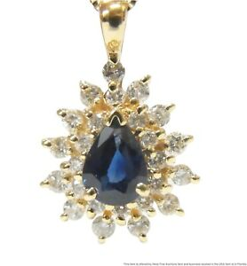 Unworn Natural Sapphire 14k Gold Diamond Halo Pendant on Chain Necklace w Box