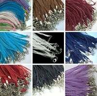 10 NEW ORGANZA RIBBON AND WAXED CORD NECKLACE WITH LOBSTER CLASPS & CHAINS N01