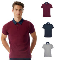 B&C Denim Forward Men's Short Sleeve Polo Shirt PMD30 - Casual Smart Collar Top