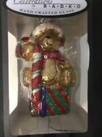 Christopher Radko Glass Handcrafted Christmas Ornament Teddy Bear Candy Cane NIB
