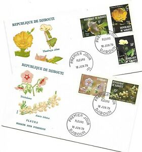 1979 DJIBOUTI FLOWERS SET ON TWO FDC - GREAT PRICE
