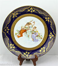 VIENNA AUSTRIA PORCELAIN CABINET WALL PLATE CHARGER BEEHIVE MARK ARTIST SIGN