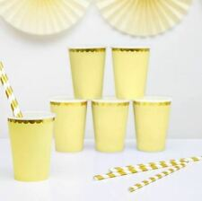 6 Lemon Yellow and Gold Party Cups Birthday Party Cups Wedding Party Cups 6 pack