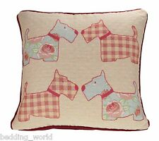 VINTAGE SCOTTIE DOG FILLED CUSHION DECORATIVE SCATTER TAPESTRY PINK DUCKEGG DOTS