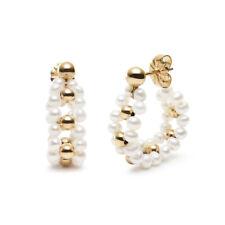 Handmade!Multiple White Pearl Earrings 14K Yellow Gold Filled