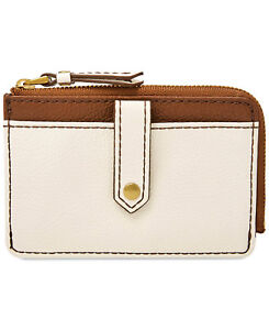 NEW FOSSIL KEELY CARD CASE TOP ZIP LEATHER BONE WHITE,BROWN,COIN WALLET POUCH