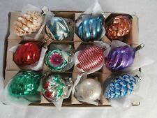 Box Of 12 Vtg Antique Blown Mercury Glass Xmas Ornaments