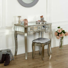 Mirrored console dressing table padded stool set vintage French chic furniture