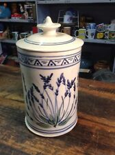 BRT Retro Hand Painted Blue White Pottery Biscuit lolly Lidded Storage Jar