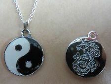 "18"" Inch 925 Sterling Silver Chain Enamel Yin-Yang Pendant Necklace Dragon"