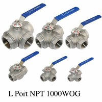 "1"" 3 Way Female NPT 304 SS Type L Port Ball Valve Vinyl Handle WOG1000"