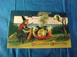 Early 20thc HALLOWEEN EC BANKS POSTCARD with WITCH In The WOODS