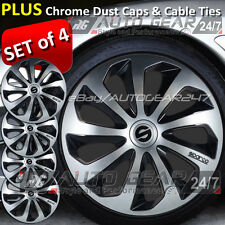 "14"" Sparco Sport Style Silver Black Car Wheel Trim Cover + Dust Caps & Cable Tie"