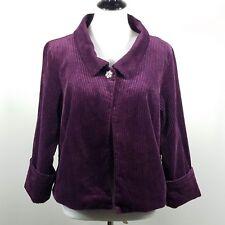 Liz Claiborne Purple Corduroy Blazer L 3/4 Cuffed Sleeves