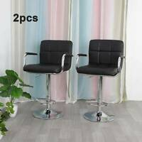 2 × Bar Stools Leather Chairs Breakfast Chairs Swivel Gas Lift Kitchen Cushioned