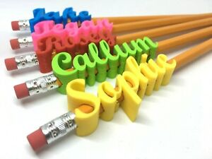 PERSONALISED PENCIL TOPPERS SCRIPT STYLE - CHOICE OF COLOURS +FREE PENCIL