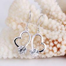 ASAMO Damen Ohrhänger Herz mit Zirkonia Stein Sterling Silber plattiert O1150