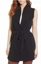 Eileen Fisher Women's Silk Georgette Crepe Long Vest in Black 7646 Size S