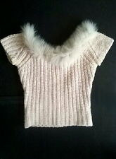 $850 AUTHENTIC ANNA MOLINARI RUNWAY FARFETCH FUR TRIMMED SWEATER TOP S 2 4 6