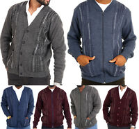 Mens Classic Zip And Button Up Gentleman Cardigan Long Sleeve Striped Knitwear